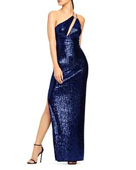 Aidan by Aidan Mattox - Asymmetrical Cutout Sequin Gown