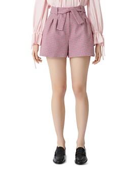 Maje - Belted Houndstooth Shorts