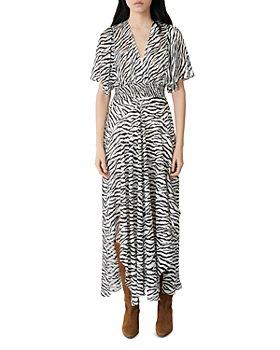 Maje - Zebra-Print Maxi Wrap Dress