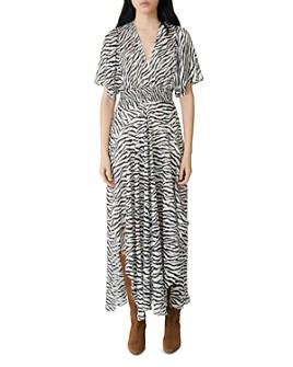 Maje - Zebra-Print Maxi Wrap Dress