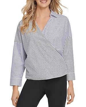 Dkny Cotton Striped Faux-Wrap Top-Women