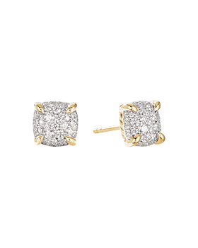 David Yurman - Châtelaine® Stud Earrings in 18K Yellow Gold with Full Pavé Diamonds