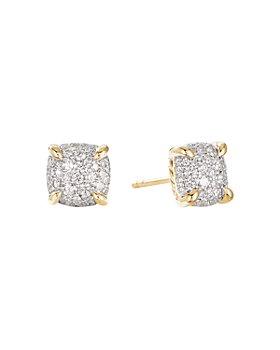 David Yurman - Châtelaine® Stud Earrings in 18K Yellow Gold with Full Pavé Diamonds