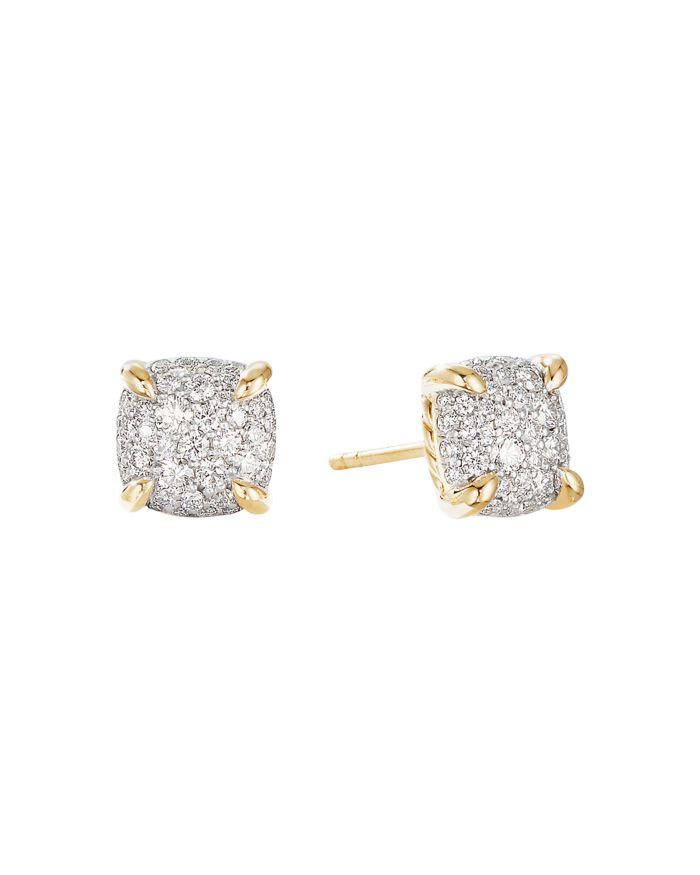 David Yurman Châtelaine® Stud Earrings in 18K Yellow Gold with Full Pavé Diamonds    Bloomingdale's