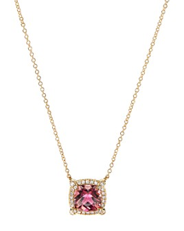 David Yurman - Petite Châtelaine® Pavé Bezel Pendant Necklace in 18K Yellow Gold with Gemstones & Diamonds, 18""