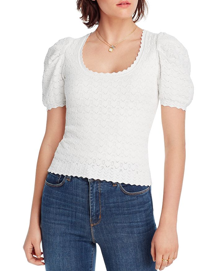Lini Danielle Puff-sleeve Pointelle Knit Top - 100% Exclusive In White