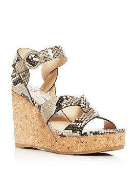 Jimmy Choo - Women's Aleili 100 Snake-Embossed Platform Wedge Sandals