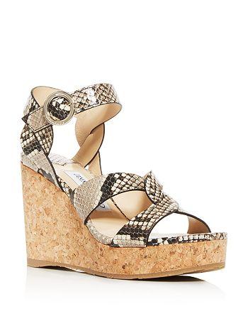 Jimmy Choo - Women's Aleili 100 Snake-Embossed Platform Wedge Sandals