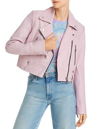 AQUA - Cropped Leather Moto Jacket - 100% Exclusive