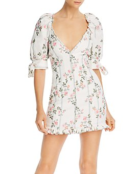 For Love & Lemons - Rose Stripe Printed Mini Dress