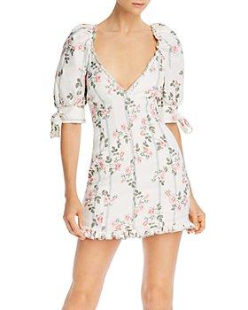 For Love & Lemons - Rose Stripe Printed Mini Dress