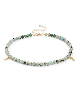 "AQUA - Star & Feather Charm Stone Beaded Choker Necklace, 13.5"" - 100% Exclusive"