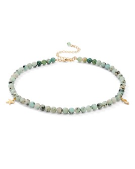 """AQUA - Star & Feather Charm Stone Beaded Choker Necklace, 13.5"""" - 100% Exclusive"""