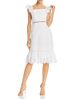 Sam Edelman - Eyelet Ruffled Neck Dress