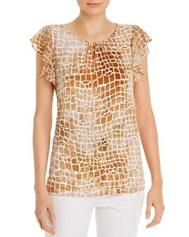 Calvin Klein - Printed Ruffled-Sleeve Top