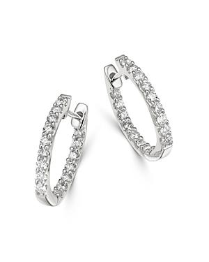 Bloomingdale's Diamond Huggie Hoop Earrings in 14K White Gold, 0.5 ct. t.w. - 100% Exclusive