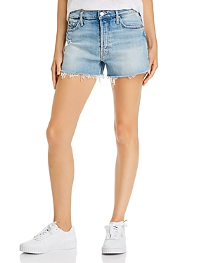 Mother The Tomcat Frayed Denim Shorts in I Confess-Women