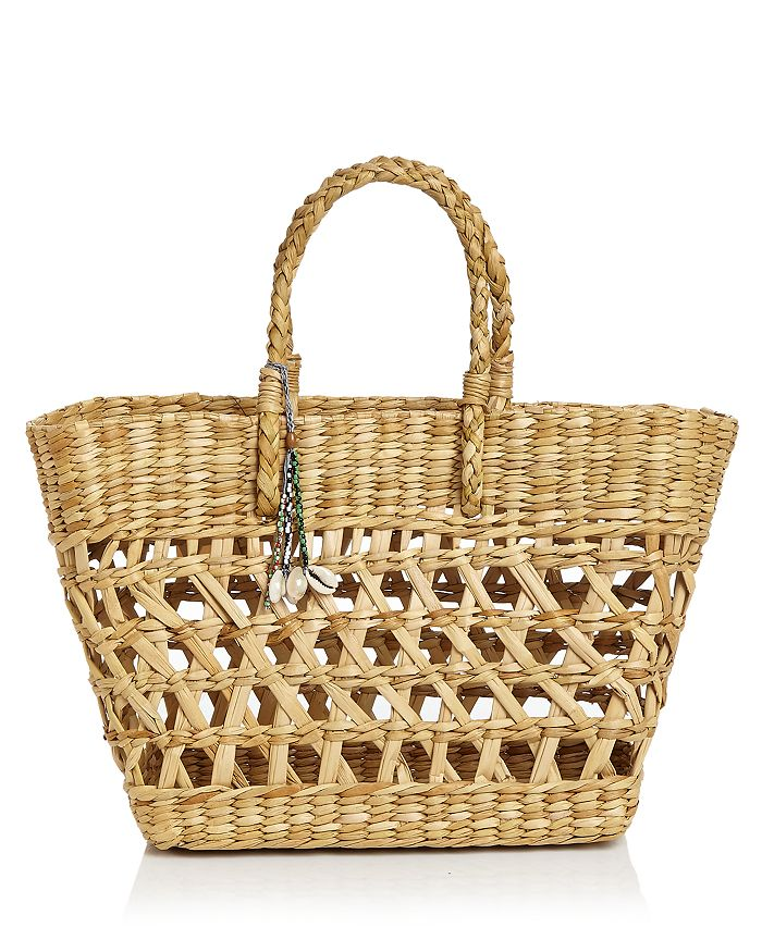 Aqua Straw & Shell Tote - 100% Exclusive In Natural