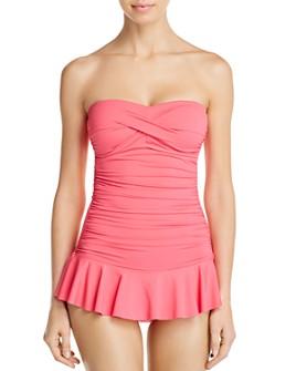 Ralph Lauren - Beach Club Solid Twist Shirred Skirted One Piece Swimsuit