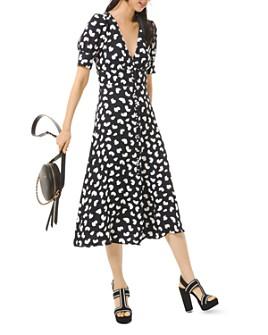 MICHAEL Michael Kors - Printed V-Neck Midi Dress