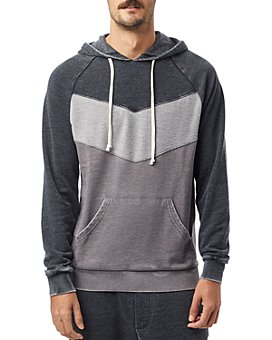 ALTERNATIVE - Cotton Color-Blocked Chevron Burnout Hoodie