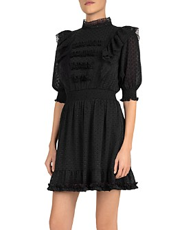 The Kooples - Ruffled-Lace Plumetis Mini Dress