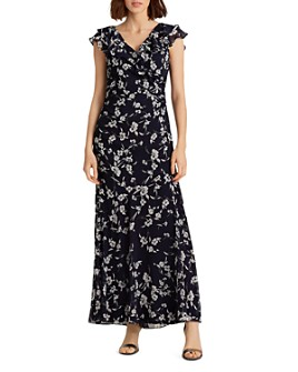 Ralph Lauren - Print Georgette Flounced Gown