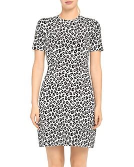 Theory - Leopard Knit T-Shirt Dress