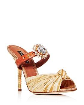 Dolce & Gabbana - Women's Embellished High-Heel Slide Sandals