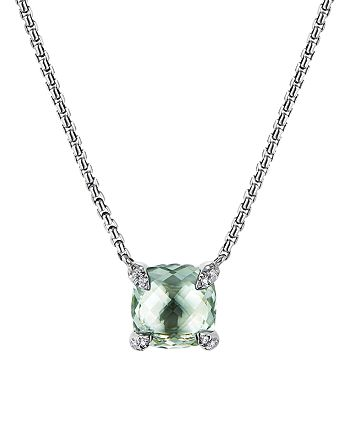 David Yurman - Châtelaine® Pendant Necklace with Prasiolite and Diamonds, 18""