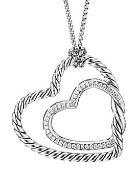 David Yurman - Sterling Silver Continuance® Heart Necklace with Pavé Diamonds, 18""