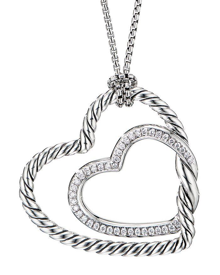 "David Yurman - Sterling Silver Continuance® Heart Necklace with Pavé Diamonds, 18"""