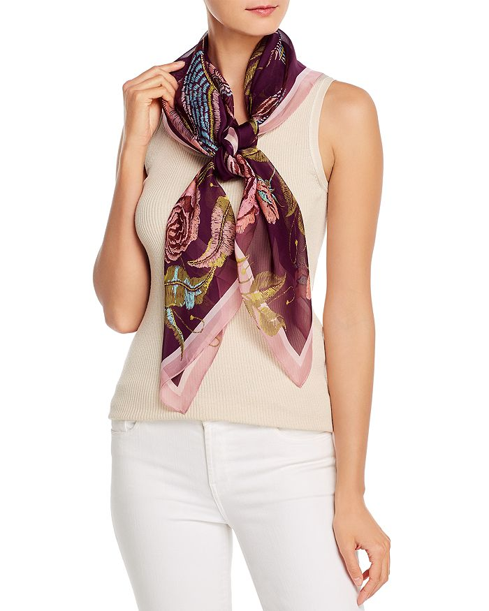 Fraas Dancing Dragon Silk Scarf In Berry