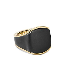 David Yurman - Streamline® Signet Ring in 18K Yellow Gold and Black Titanium