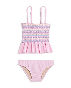 Clements Twins x PQ Swim - Girls' Smocked Ruffled Two-Piece Swimsuit, Little Kid, Big Kid - 100% Exclusive