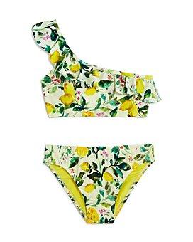 Clements Twins x PQ Swim - Girls' Ruffled Lemons Two-Piece Swimsuit, Little Kid, Big Kid - 100% Exclusive