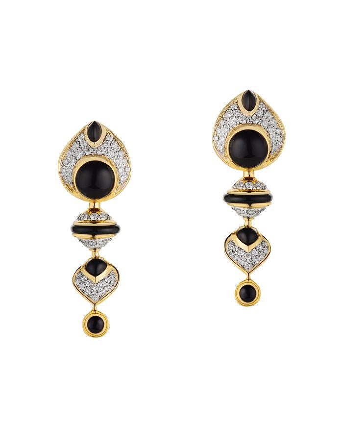 Marina B - 18K Yellow or White Gold Pneu Diamond & Black Jade Clip-On Earrings with Interchangeable Gemstone Beads