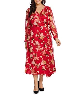 Vinve Camuto Plus Beautiful Blooms Midi Wrap Dress