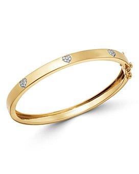 Moon & Meadow - 14K Yellow Gold Diamond Pavé Heart Clusters Bangle Bracelet  - 100% Exclusive
