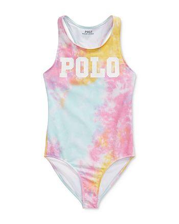 Ralph Lauren - Girls' Tie-Dyed Polo One-Piece Swimsuit - Big Kid