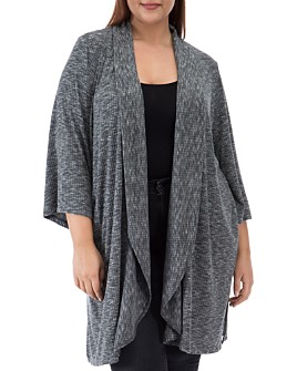 B Collection by Bobeau Curvy - Ellen Waterfall Ribbed Open-Front Cardigan