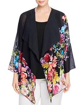 Caroline Rose Plus - Cascading Floral Georgette Draped Jacket