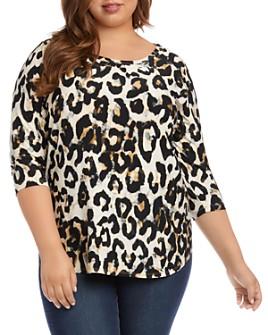 Karen Kane Plus - Cheetah-Print Shirttail Top