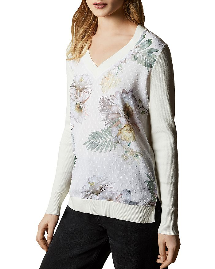 Ted Baker Kaylaaa Woodland Woven Front Sweater In Ivory