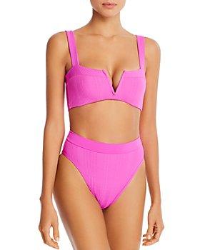 L*Space - Lee Lee Textured V-Notch Bikini Top & Frenchi Bikini Bottom
