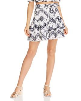 AQUA - Tiered Eyelet Mini Skirt - 100% Exclusive