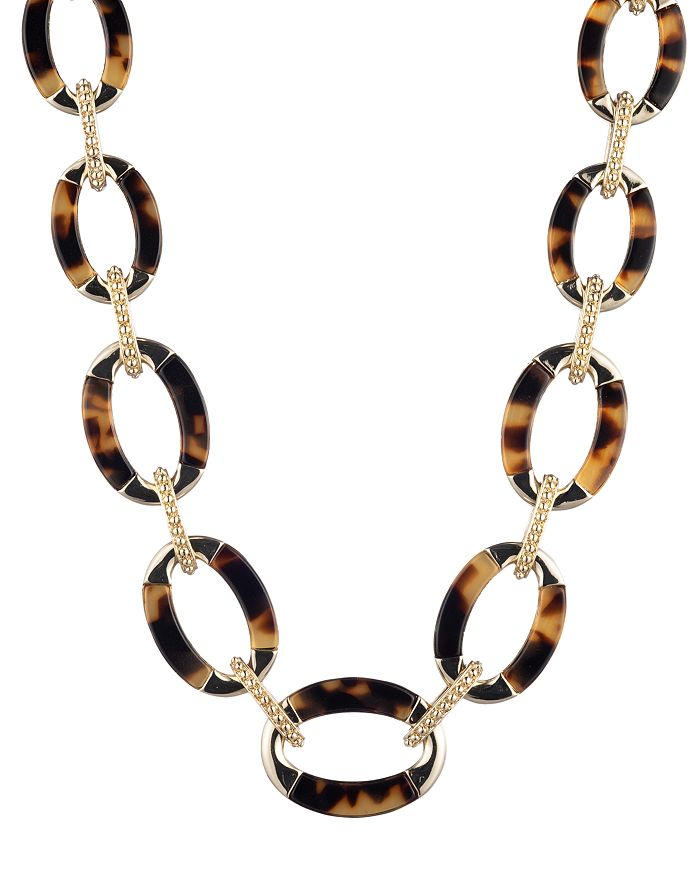 """Ralph Lauren - Gold-Tone & Synthetic Tortoise Inlay Collar Necklace, 16"""""""