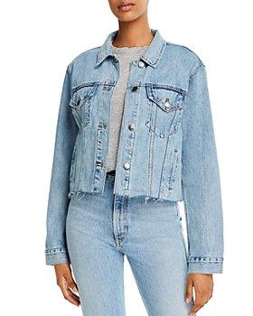 Pistola - Naya Cotton Cropped Boyfriend Denim Jacket in Medium Blue