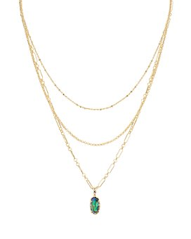 "Kendra Scott - Elisa 14K Gold-Plated Mother-Of-Pearl Layered Pendant Necklace, 14""-16"""