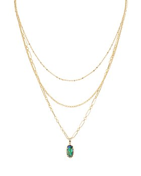 """Kendra Scott - Elisa 14K Gold-Plated Mother-Of-Pearl Layered Pendant Necklace, 14""""-16"""""""